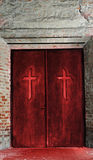 Religion concept - cross on door Royalty Free Stock Photography