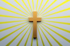 Religion concept. Cross symbol of Christianity. Religion concept. Cross symbol of Christianity over the surface with yellow rays. 3d illustration stock images