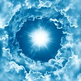 Religion concept of heavenly background with dramatic clouds. Divine shining heaven, light. Sky with beautiful cloud and sunshine. Peaceful sky background royalty free stock image