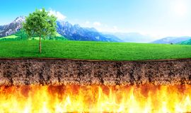 Religion concept. Slice of ground bark separate hell and paradis. E. Concept of global warming Stock Photo