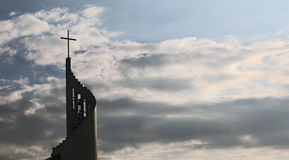 Religion Cross Dark Clouds Stock Image