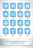 Religion crosses navigation icon rectangle pins Stock Images