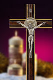 Religion - Crucifix - Church Candles stock photos