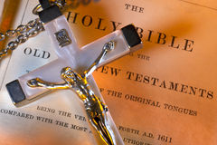 Religion - Crucifix - Holy Bible Stock Image