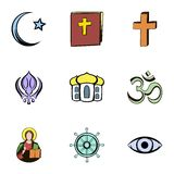 Religion culture icons set, cartoon style Royalty Free Stock Images