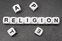 Religion de Word sur des cubes en jouet Image stock