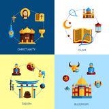 Religion Design Concept Set. With christianity islam taoism buddhism flat icons isolated vector illustration Royalty Free Stock Photo
