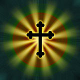 Religion en travers de symbole de lueur Photo stock
