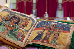 Religion ethiopia. Images from a religious manuscript inside St Mary's of Zion church in Ethiopia's northern city of Aksum royalty free stock image