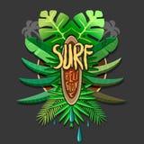 Religion för sommarkonstverkbränning - surfa trycket för royaltyfri illustrationer