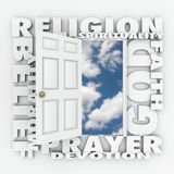 Religion Faith Belief Door Opening to Follow God or Spirituality. Religion word and related terms like god, belief, morality, spirituality, prayer, devotion and Stock Images
