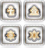 Religion, faith and believes of the World. Religion is the adherence to codified beliefs and rituals, pictured here from left to right Royalty Free Stock Photography