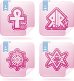 Religion, faith and believes of the World. Religion is the adherence to codified beliefs and rituals, included icons from left to right, top to bottom Stock Image