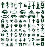 Religion, faith icons on white Royalty Free Stock Photography