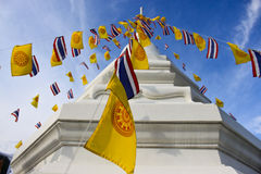 Religion flags with pagoda Royalty Free Stock Photo