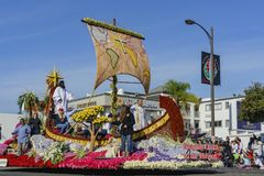Religion float in the famous Rose Parade. Pasadena,  JAN 1: Religion float in the famous Rose Parade - America's New Year Celebration on JAN 1, 2017 at Pasadena Stock Image