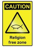 Religion free hazard Sign. Religion free zone sign isolated on white background Royalty Free Stock Photo