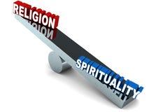 Religion gegen Geistigkeit Stockbild