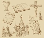 Religion-hand drawn collection. Original hand drawn religion collection Stock Photos