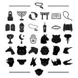 Religion, hobbies, nature and other web icon in black style.Asia, India, attributes icons in set collection. Religion, hobbies, nature and other  icon in black Royalty Free Stock Images