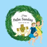 Religion holiday palm sunday before easter, celebration of the entrance of Jesus into Jerusalem, happy kids with. Palmtree leaves vector illustration, childrens Royalty Free Stock Photos