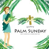 Religion holiday palm sunday before easter, celebration of the entrance of Jesus into Jerusalem, happy kids with. Palmtree leaves vector illustration, childrens vector illustration
