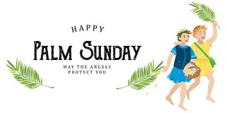Religion holiday palm sunday before easter, celebration of the entrance of Jesus into Jerusalem, happy kids with. Palmtree leaves vector illustration, childrens Stock Image