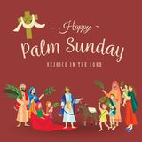 Religion holiday palm sunday before easter, celebration of the entrance of Jesus into Jerusalem, happy people with. Palmtree leaves in hands, tropical branch Stock Photo