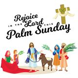 Religion holiday palm sunday before easter, celebration of the entrance of Jesus into Jerusalem, happy people with. Palmtree leaves in hands, tropical branch Stock Photography