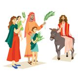 Religion holiday palm sunday before easter, celebration of the entrance of Jesus into Jerusalem, happy people with. Palmtree leaves in hands, tropical branch Royalty Free Stock Photography