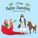 Religion holiday palm sunday before easter, celebration of the entrance of Jesus into Jerusalem, happy people with. Palmtree leaves in hands, tropical branch Royalty Free Stock Photos