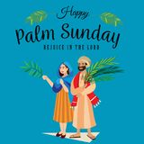 Religion holiday palm sunday before easter, celebration of the entrance of Jesus into Jerusalem, happy people with. Palmtree leaves in hands, tropical branch Royalty Free Stock Images