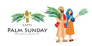 Religion holiday palm sunday before easter, celebration of the entrance of Jesus into Jerusalem, happy people with. Palmtree leaves in hands, tropical branch Stock Image