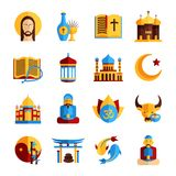 Religion Icon Set. With christian islamic and oriental symbols isolated vector illustration Royalty Free Stock Photography