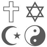 Religion icon set vector simple. Religion icon set icon. Vector simple illustration of catholic religion icon black set isolated on white background stock illustration