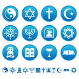 Religion icons. Religion symbols on round buttons Stock Images