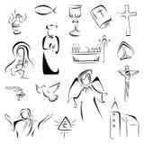 Religion icons. Collection of Christian Catholic religion symbols vector illustration