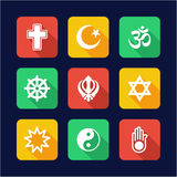 Religion Icons Flat Design Royalty Free Stock Photography