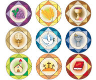 Religion icons. Illustration of religion icons isolated stock illustration