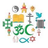 Religion icons set, cartoon style. Religion icons set. Cartoon illustration of 16 religion vector icons for web Royalty Free Stock Images
