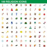 100 religion icons set, cartoon style. 100 religion icons set in cartoon style for any design illustration stock illustration