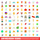 100 religion icons set, cartoon style. 100 religion icons set in cartoon style for any design vector illustration Royalty Free Stock Image