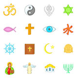 Religion icons set, cartoon style Stock Image
