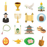 Religion icons set, cartoon style Royalty Free Stock Photography