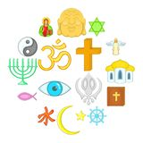 Religion icons set, cartoon style. Religion icons set in cartoon style. Culture set isolated vector illustration Stock Photography