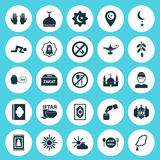Religion Icons Set. Collection Of Building, Midday, Prayer Carpet And Other Elements. Also Includes Symbols Such As Star. Religion Icons Set. Collection Of Stock Photography