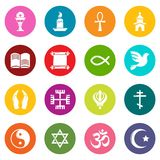 Religion icons set colorful circles vector. Religion icons set vector colorful circles isolated on white background Stock Photo