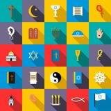 Religion icons set, flat style royalty free illustration