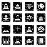 Religion icons set, grunge style Royalty Free Stock Image