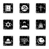 Religion icons set, grunge style Stock Photo